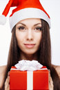 Gorgeous santa girl cheerful isolated on white Royalty Free Stock Photography