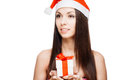 Gorgeous santa girl cheerful isolated on white Stock Photography
