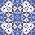 Gorgeous seamless patchwork pattern from colorful Moroccan tiles