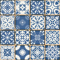 Gorgeous seamless patchwork pattern from dark blue and white Moroccan tiles, ornaments. Can be used for wallpaper