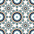 Gorgeous seamless pattern from blue Moroccan tiles, ornaments. Royalty Free Stock Photo