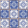 Gorgeous seamless  pattern from dark blue and white Moroccan, Portuguese  tiles, Azulejo, ornaments. Royalty Free Stock Photo