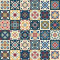 Gorgeous seamless  pattern . Moroccan, Portuguese  tiles, Azulejo, ornaments. Royalty Free Stock Photo