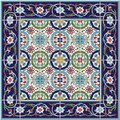 Gorgeous seamless  pattern from tiles and border. Moroccan, Portuguese,Turkish, Azulejo ornaments. Royalty Free Stock Photo
