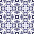 Gorgeous seamless pattern white blue Moroccan, Portuguese tiles, Azulejo, ornaments. Can be used for wallpaper, pattern Royalty Free Stock Photo
