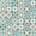 Gorgeous seamless pattern white old green Moroccan, Portuguese tiles, Azulejo, ornaments. Can be used for wallpaper Royalty Free Stock Photo