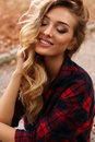 Gorgeous sensual woman with blond hair in casual clothes