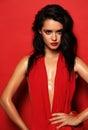 Gorgeous sensual woman with dark hair wears elegant red dress