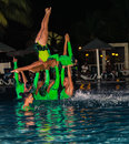 Gorgeous view of live performance by hotel entertainment team at night water show