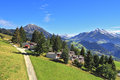 Gorgeous weather in the resort town of Leysin in the Swiss Alps. Royalty Free Stock Photos