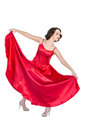 Gorgeous woman dancing flamenco on white background Stock Photo