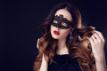 Gorgeous woman with dark hair and blue eyes, with  mask on face Royalty Free Stock Photo