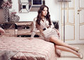 Gorgeous woman with dark hair posing in luxurious interior Royalty Free Stock Photo