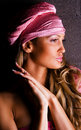 Gorgeous woman in a pink hat Royalty Free Stock Photo