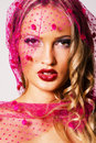 Gorgeous woman in a pink veil Royalty Free Stock Image