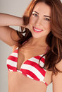 Gorgeous Woman In Red And White Bikini Royalty Free Stock Images