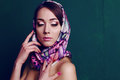 Gorgeous woman in retro style, with elegant silk scarf Royalty Free Stock Photo