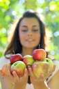 Gorgeous young girl with apples Stock Photography
