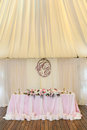 Gorgeously decorated newlyweds table with monogram under it