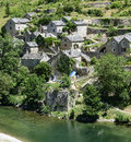 Gorges du tarn village lozere linguedoc roussillon france famous canyon at summer historic Stock Image