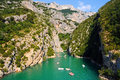 Gorges du verdon view into canyon haute provence france at lac de sainte croix you can rent boats to go into the canyon photo was Royalty Free Stock Images