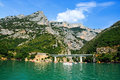 Gorges du verdon view into canyon haute provence france at lac de sainte croix you can rent boats to go into the canyon photo was Stock Photography