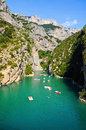 Gorges du verdon view into canyon haute provence france at lac de sainte croix you can rent boats to go into the canyon photo was Stock Photo