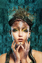 Gorgon girl in dungeon medusa young woman with creative fantasy hairstyle and make up Royalty Free Stock Photos