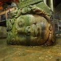 Gorgon Medusa head in underground Basilica Cistern the largest ancient water reservoirs, Istanbul, Turkey Royalty Free Stock Photo
