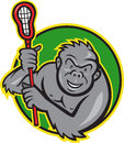 Gorilla Ape With Lacrosse Stick Cartoon Stock Photography