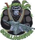 Gorilla with bandana, cigar, holding machine gun and  text gorilla warfare Royalty Free Stock Photo