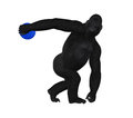 Gorilla discus thrower discobolus illustration a concept of strength in a by a Royalty Free Stock Photo