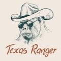 Gorilla like a texas ranger Royalty Free Stock Photo