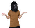 Gorilla man confused with a mask isolated on a white background in a position Royalty Free Stock Photography