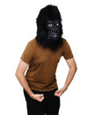 Gorilla man with a mask isolated on a white background showing his muscles Royalty Free Stock Images