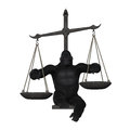 Gorilla Pointing Plates Balance Weighing Scale Illustration