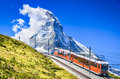 Gornergrat train and Matterhorn. Switzerland Royalty Free Stock Photo