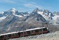 Gornergrat Train on steep slope Stock Images