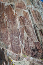 Gorny altai ancient drawings on rocks siberia Stock Photos