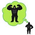 Goryla myślący bodybuilding pompuje up mięśnie ilustracyjnych Obrazy Royalty Free