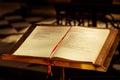 Gospel in dutch open bible book on evangelie page church bruges belgium Stock Photo