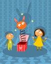 Gosses jouant avec le jouet de jack-in-the-box Image stock
