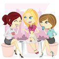 Gossip office girl three in coffee shop Stock Photography