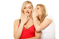 Gossip rumour woman telling secrets to your girlfriend women spreading isolated over white background Royalty Free Stock Images