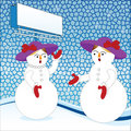 Gossiping snowmen  Stock Photo