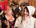 Gossiping Women in Old Saloon Stock Images