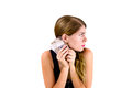 Got money portrait of a young female holding cash Stock Image