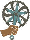 We got the power badge illustration with a bike chainring and fist Stock Photo
