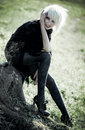 Goth woman outdoors Stock Photo