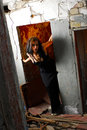 Goth woman in ruined doorway Stock Image